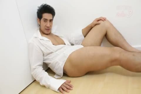 A Very naughty Asain paramour Interviews And Then Wanks His penis For All To watch