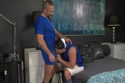 Muscly Young Hung Oversexed homo weenie Rides The Dilf coach In His Pooter