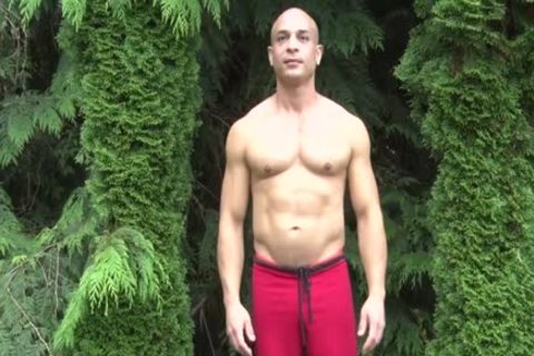 filthy Bald Muscle man Shows Off His 9-inch Sausage