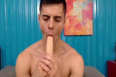 tasty athletic Latino slides Two dildos In His ass