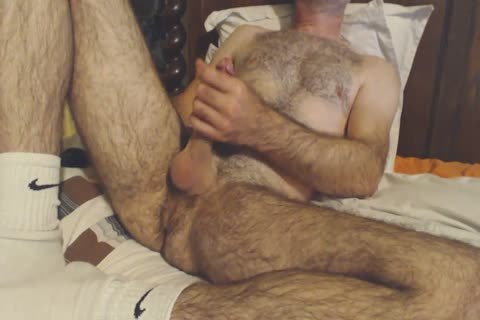 hairy daddy lad Shows Off His Rock Solid shlong