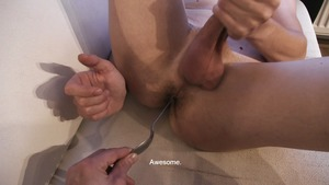 Spikey hair man jerks off hard previous to sucking dick on cam