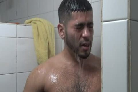 Hung Latino hammered In Gym Shower