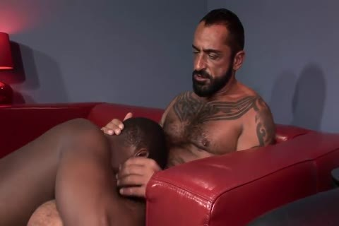 Bearded Hunk acquires His Tool Blown By A Balck Hunk